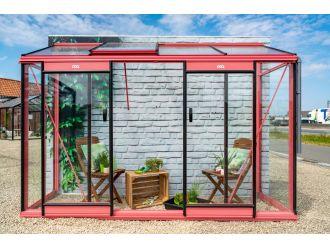 ACD Muurkas Miccolo (M04) met 4 mm dik veiligheidsglas en dak met gehamerd glas - Aluminium - 2,44 m² - 298 x 82 x 219