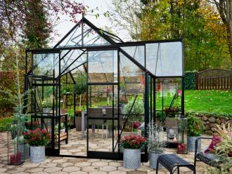 Garden Room, 129 zwart gecoat - 389x391 cm (bxl) 163/276 cm (h)